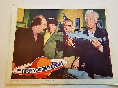 THREE STOOGES IN ORBIT 1962 Original Movie Lobby Card MOE LARRY CURLY JOE