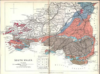 Antique map, South Wales