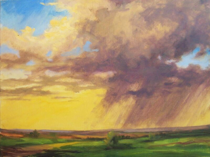 Rainy Sunset Prairie Clouds 16x12 landscape oil on wrap canvas  Margaret Aycock