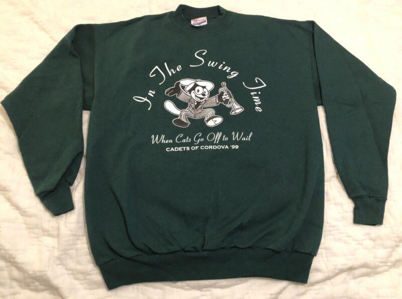 Vintage 90s Felix The Cat Green M Sweatshirt Cadets Of Cordova 99 Zootsuit Swing