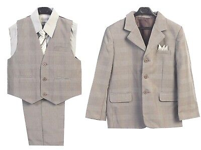 Boys Suit Gray Toddler Kids Dress Plaid Check Party Graduation Wedding  2-20 New - Boys Kids Dress