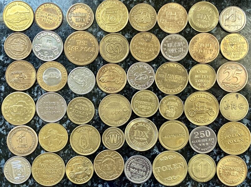 48 DIFFERENT VINTAGE CAR WASH  & LAUNDRY TOKENS- BRASS, COPPER, BI - METAL