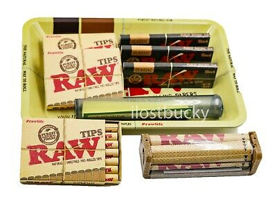 1 X Black Package (Bundle Combo 3x RAW Black 1 1/4 Rolling Paper & PreRolled Tips + Tray + Tube  )