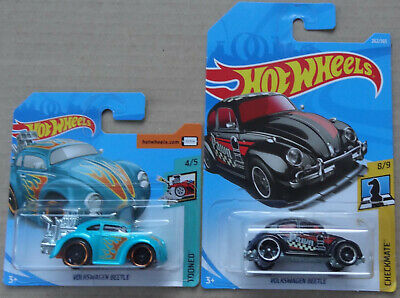 Hot Wheels - 2x VW Volkswagen Beetle hot rod dragster - HW Tooned Checkmate MOC