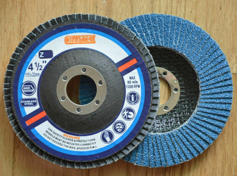 "100pcs Pro Zirconia FLAP DISCS 4-1/2"" x7/8"" 120 GRIT for Stainless Steel & METAL"