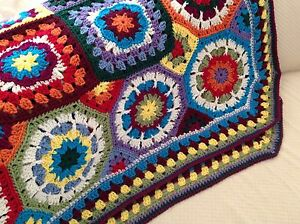 VINTAGE LOOK For NEW Granny Square Octagon Geometric Afghan Throw Hand Crocheted