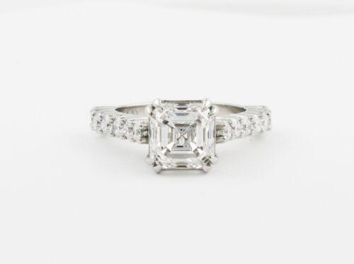 GIA Certified 1.75 Carat Asscher and Round Cut Diamond Engagement Ring Platinum