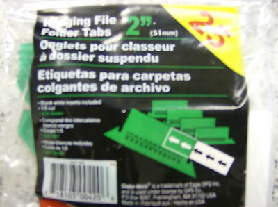 Globe-weis Hanging File Folder Tabs 2 Green 25 Per Pack