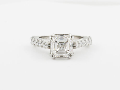 Diamond Asscher & Round Cut 2.70 CT GIA Certified Platinum Engagement Ring