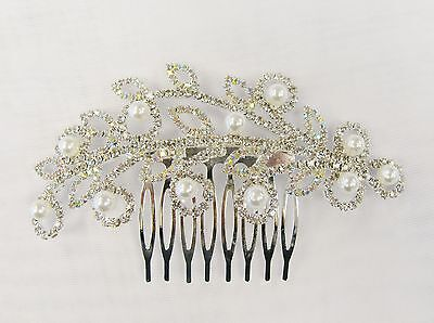 Silver Clear Rhinestone Crystal Pearl Hair Comb  # 3249 Prom Wedding Pageant
