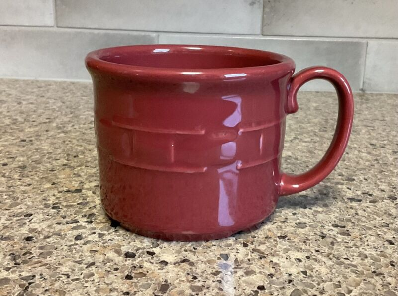 Longaberger Pottery Woven Traditions Paprika Red Soup or Lg Coffee Mug