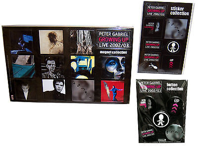 PETER GABRIEL 3-PC GROWING UP TOUR 2002 / 2003 GIFT SET - MAGNET STICKER BUTTON
