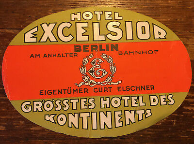 Antique HOTEL EXCELSIOR Berlin Germany Luggage Label