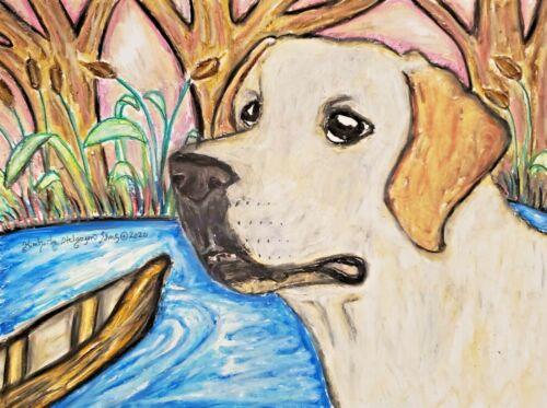 Labrador Retriever Collectible 11x14 Dog Art Print Lab at Lake by Artist KSams