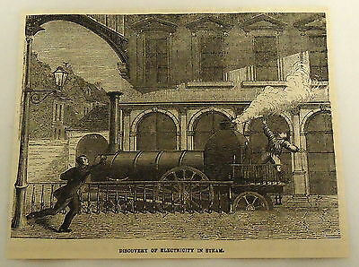 1878 magazine engraving ~ DISCOVERY OF ELECTRICITY IN STEAM