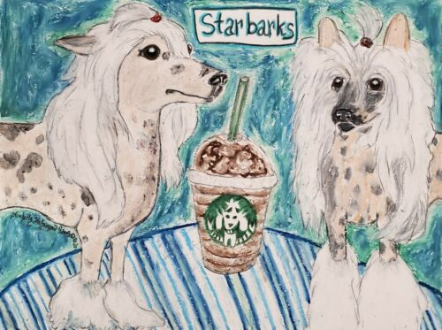 Chinese Crested Giclee Art Print 11 x 14 Signed Artist KSams Starbarks Starbucks