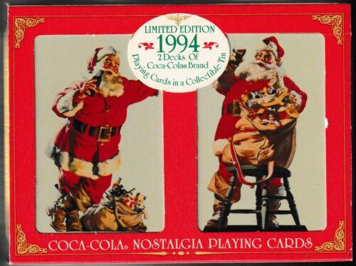 2 Decks Coca Cola 1994 Nostalgia Limited Edition Playing Cards Collectible Tin