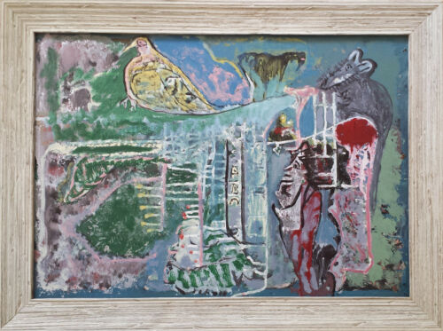 Jamaican Intuitive Art - Painting by Leonard Daley Outsider Artist  (1930-2006)