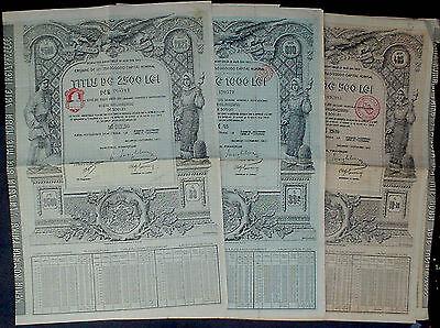 Roumania 3 x 4 1/2% Gold Bonds 500 - 2500 Lei Aur = 99 ₤,  1929 uncan. + coupons
