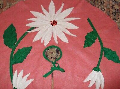 Vtg Mid Century PINK Felt Christmas Tree Skirt White Poinsettia Holly Sequins