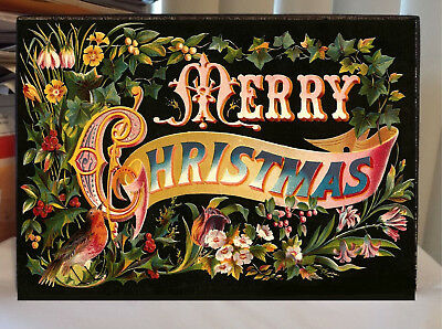 Vintage Merry Christmas Sign Flowers Red Breasted Robin - Merry Sign