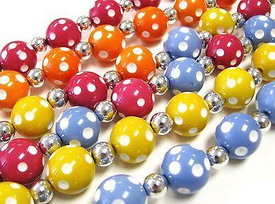 Polka Dot Round Bead Acrylic 15mm Bubble Gum Jewelry DIY Beads 50 pcs Mix