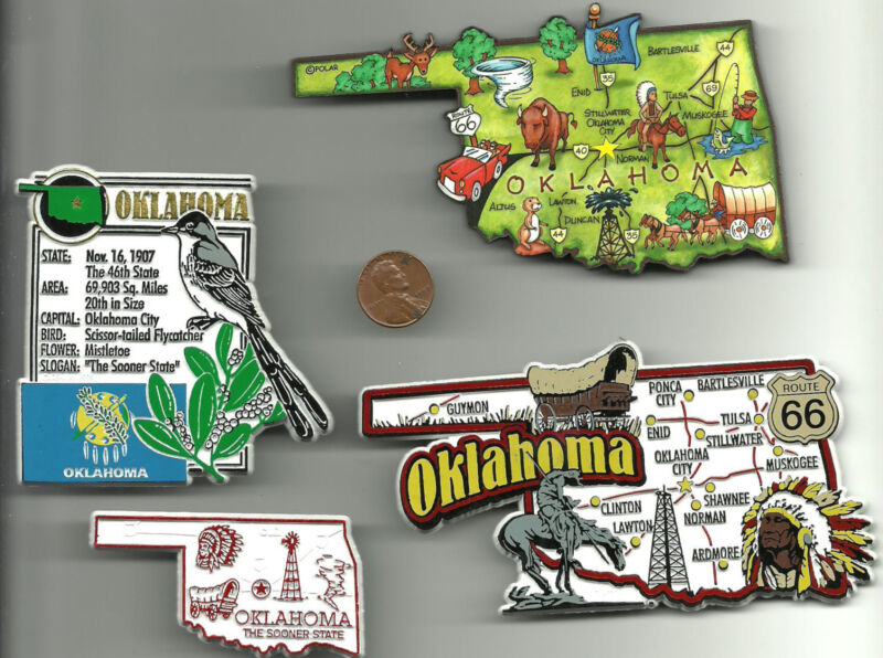 OKLAHOMA  MAGNET ASSORTMENT 4 NEW  STATE SOUVENIRS include JUMBO map MAGNET