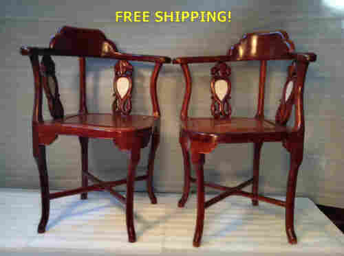 Unusual Pair of Chinese Carved Hard Wood Corner Chairs