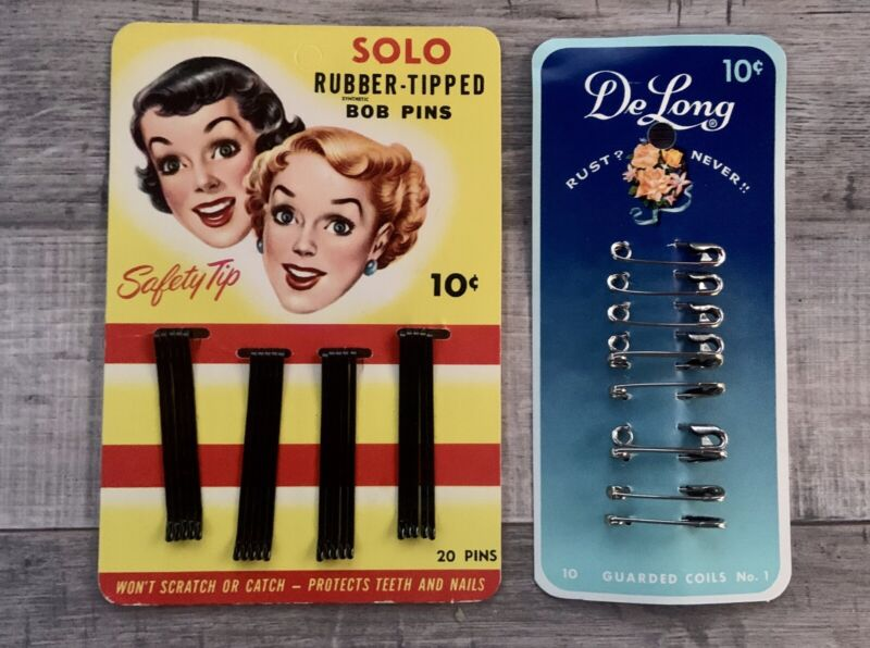 1941 DeLONG Safety Pins and 1951 SOLO Bob Pins 10¢ DISPLAY CARD