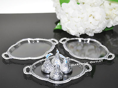12 PC CLEAR PLASTIC TRAY PLATTER WEDDING FAVORS TABLE DECORATIONS QUINCEANERA - Clear Plastic Tray