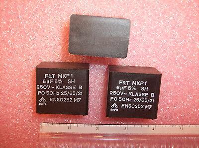 QTY (3) 6uf 250V 5% RADIAL METALLIZED FILM CAPACITORS CLASS B MKP1 FK415 F&T