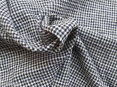 Gingham Linen Blend Fabric by the Yard Yarn Dye Navy Taupe - Gingham Linen