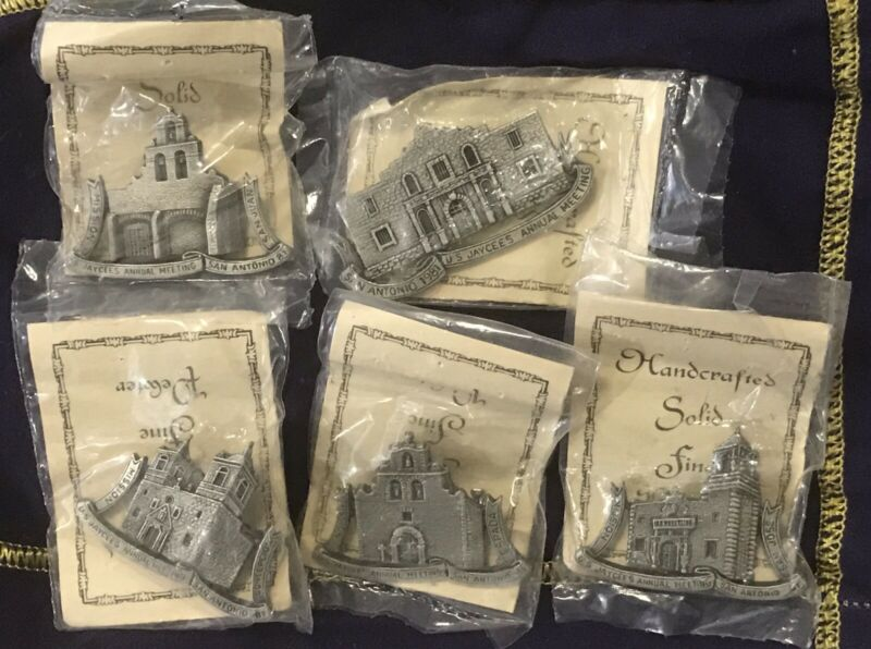 US Jaycees 1981 5 Pieces Pewter Mission Pin Set, Alamo, Espada, Concepcion, +