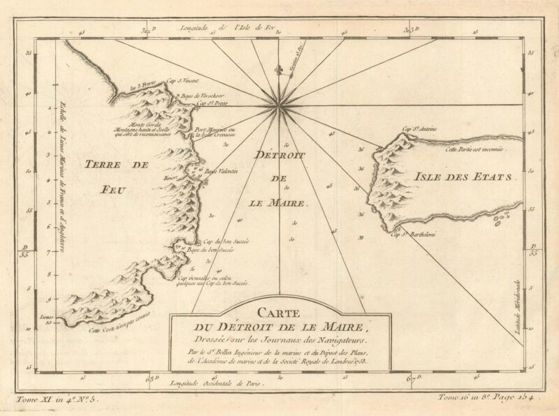 1753 Bellin Map of the Le Maire Strait, Argentina