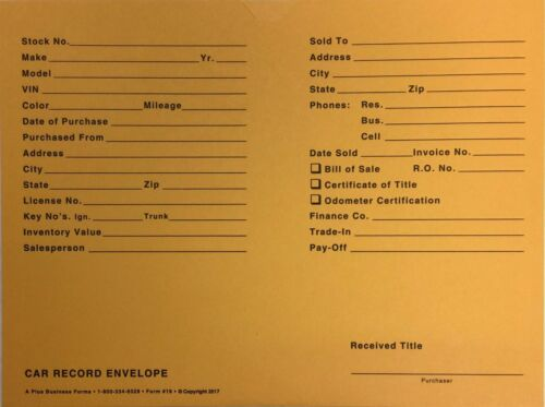 Car Record Envelope #19 Gold Auto Dealer Record Envelope • Qty 500 (W17)