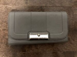 Leather Coach Wallet in Gray