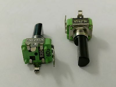 Used, 2 x 9mm Alpha B20K 20K Linear Taper Potentiometer 18mm D Shaft with Center Dent for sale  China
