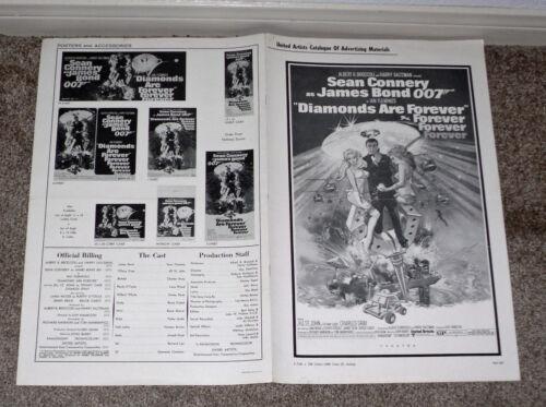 DIAMONDS ARE FOREVER original 1971 movie pressbook JAMES BOND/SEAN CONNERY