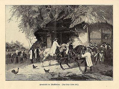 Erntefest in Westfalen Künstlergraphik Holzstich um 1900