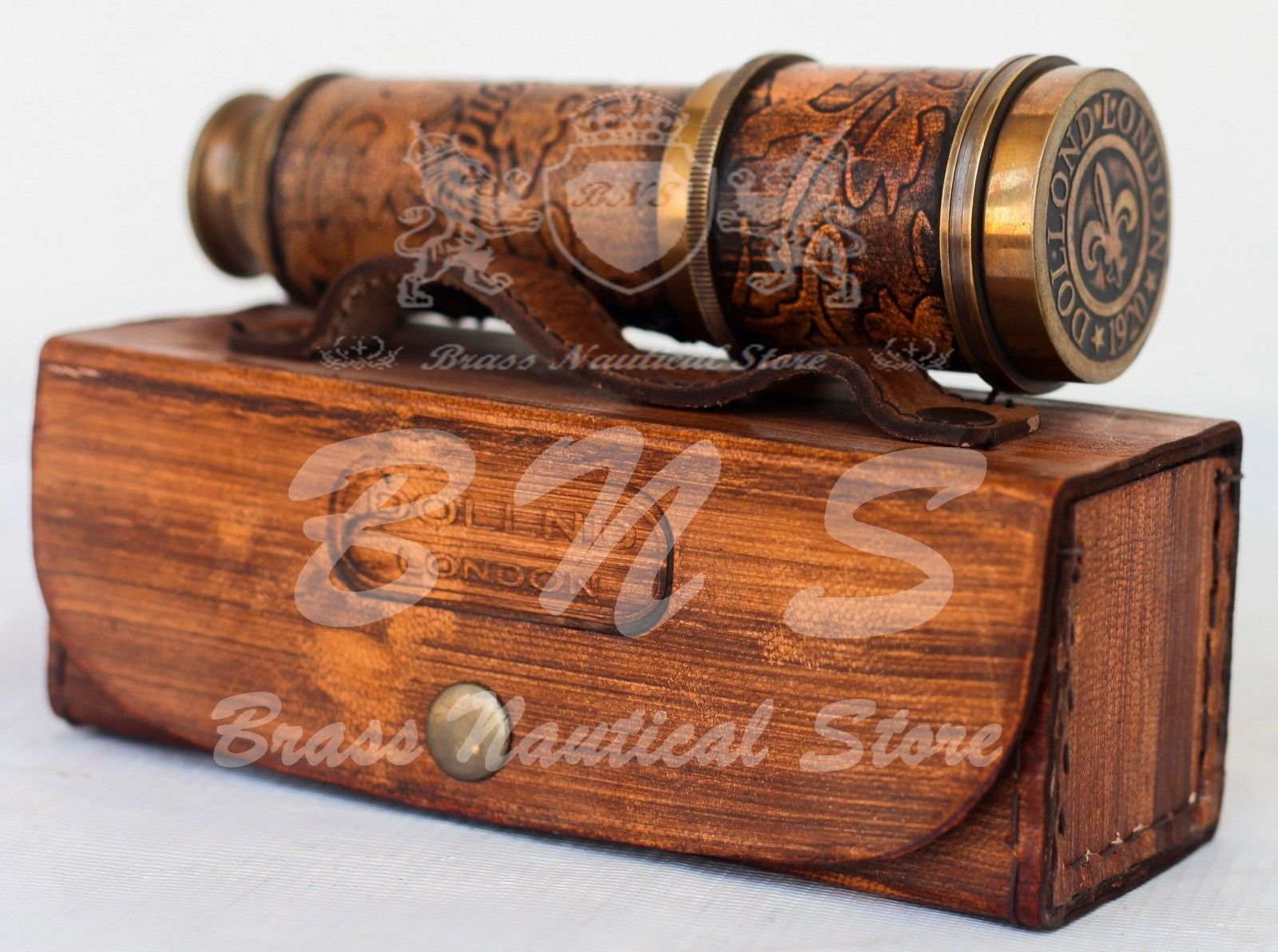 Antiques Sporting Vintage Maritime Nautical Spyglass Telescope With Wooden Box
