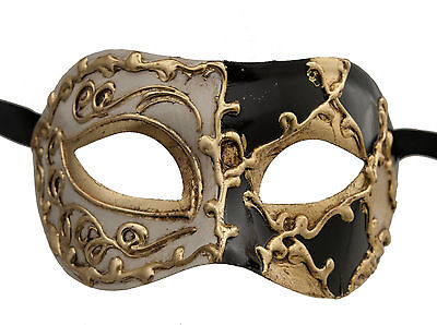 Mask from Venice Colombine Harlequin Black and Golden for Prom Mask 1049 V82