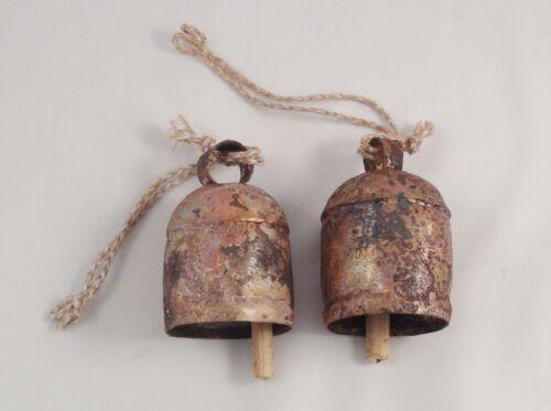 2 BIG BELLS-Rustic Farmhouse Shabby Cow Bells-Just Married Car Decor-Wind Chimes