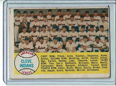 1958 TOPPS BASEBALL CLEVELAND INDIANS TEAM  #158 IN GOOD OR BETTER