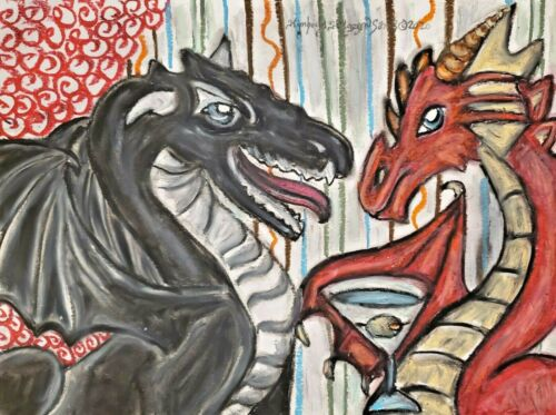 Dragon drinking a Martini 8 x 10 Collectible Art Print Signed by Artist KSams