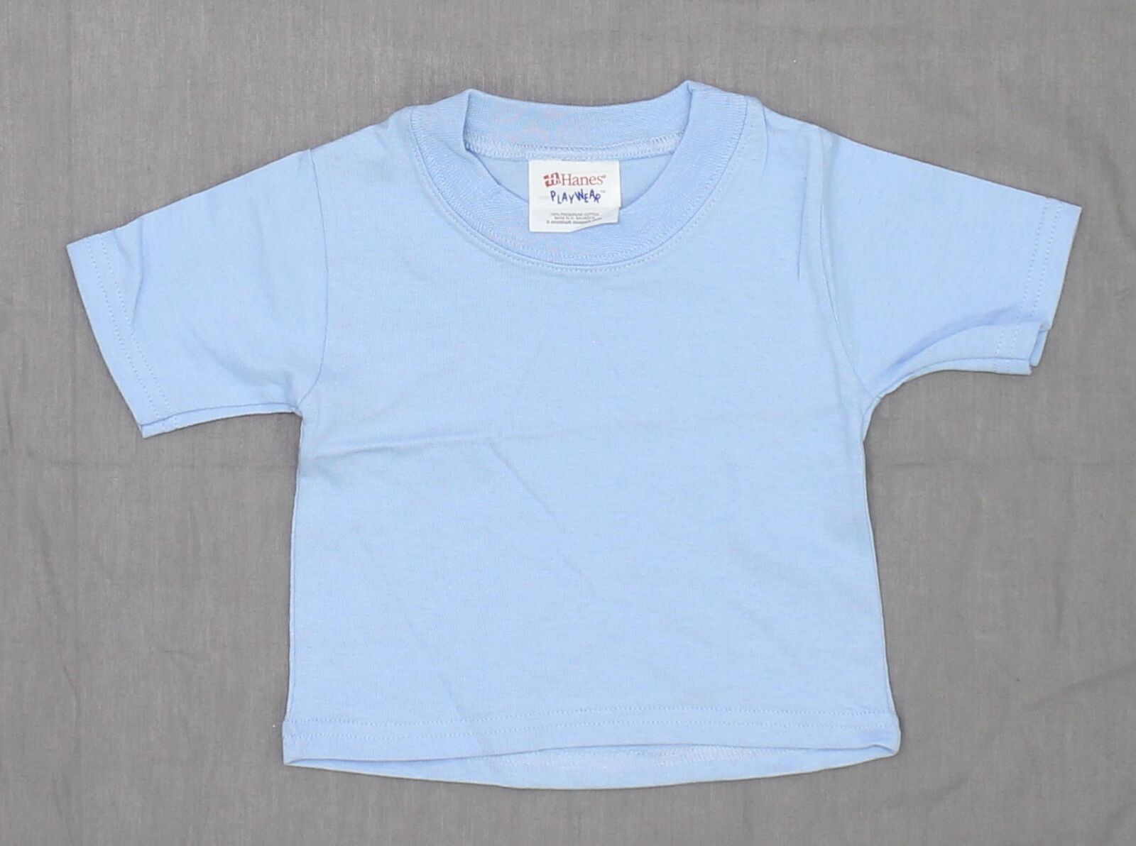 nEW Hanes Playwear Infant Baby Short-Sleeve T-Shirt Light Blue 6 Months