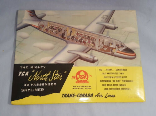 "Trans-Canada Airlines ""North Star"" Tin over Cardboard Sign"