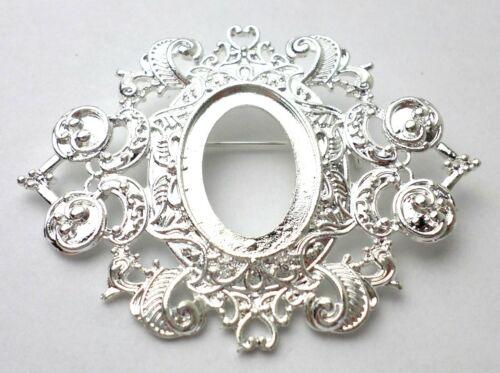 4 of 25x18 mm Silver Ornamental Heart Art Deco Brooch/Pin Pendant Settings, Nice