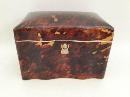 Lovely Antique Faux Tortoise Tea Caddy Casket Hinged Box