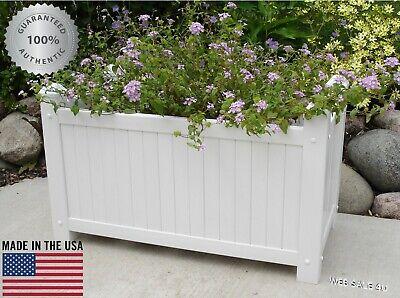 Large Garden Planter Pot Outdoor Flowers White Rectangle Plant Bed Box Vinyl US  ()