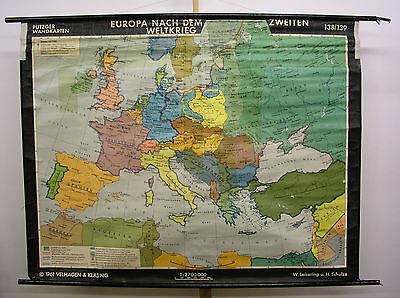 Schulwandkarte Beautiful Old Europakarte ab 45 GDR W Germany 184x143cm 1961